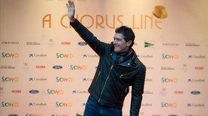 Antonio Banderas posa eufórico en la inauguración de su Teatrodel Soho con 'A Chorus Line'.