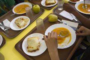 Aspecto de un menú escolar en el colegio público La Farigola del Clot, en el distrito de Sant Martí de Barcelona.