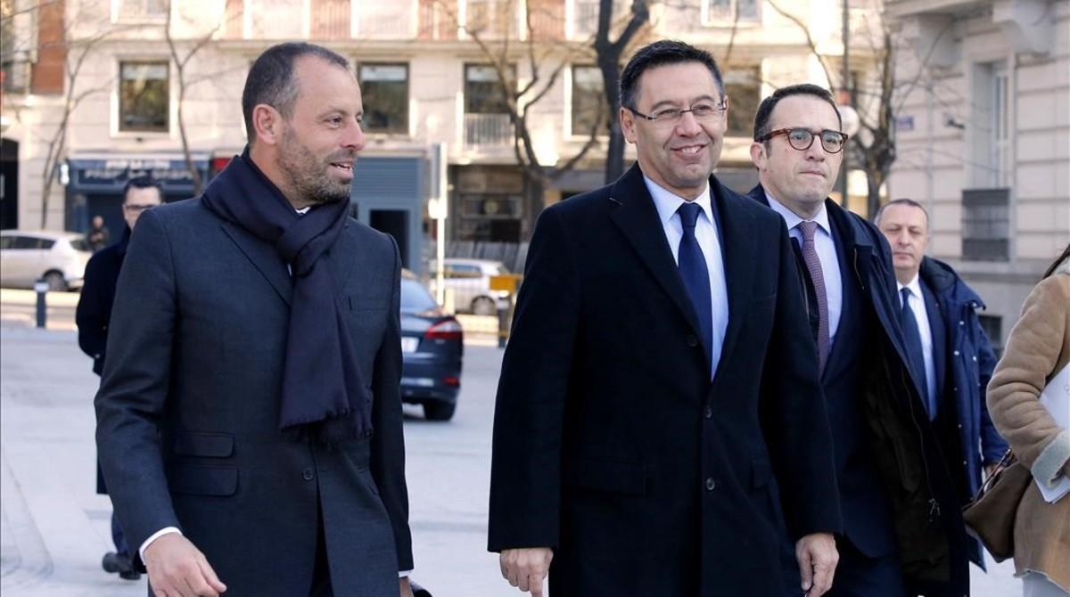Bartomeu y Rosell, en la Audiencia Nacional de Madrid, el pasado mes de febrero.