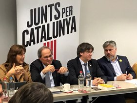 Borràs, Torra, Puigdemont y Batet, en Bruselas.