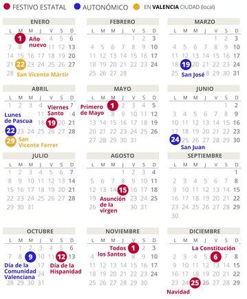 Calendario laboral de València del 2019 (con todos los festivos)