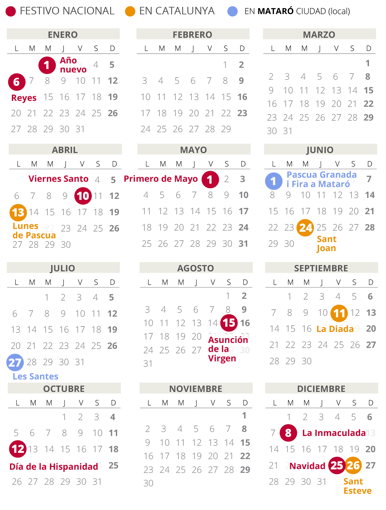Calendari laboral de Mataró del 2020 (amb tots els dies festius)