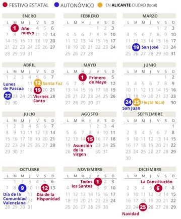 Calendario laboral de Alicante del 2019 (con todos los festivos)