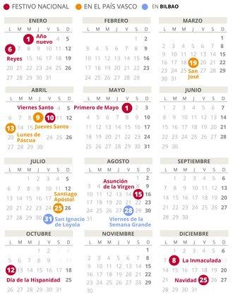 Calendario laboral de Bilbao del 2020