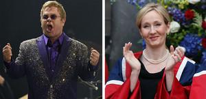 El cantante Elton John y la escritora J.K. Rowling.