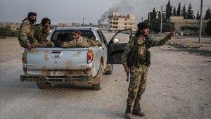 Combatientes del Ejercito Nacional sirio que apoyan aTurquía.