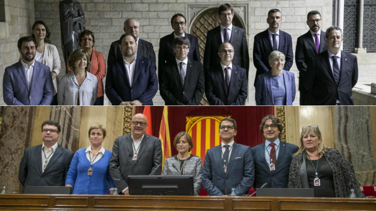 La Mesa del Parlament y los miembros del Govern depuesto.