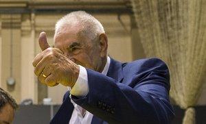 Ernest Maragall celebra la victoria electoral.