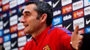 Ernesto Valverde, durante la rueda de prensa previa a la visita al Celta.