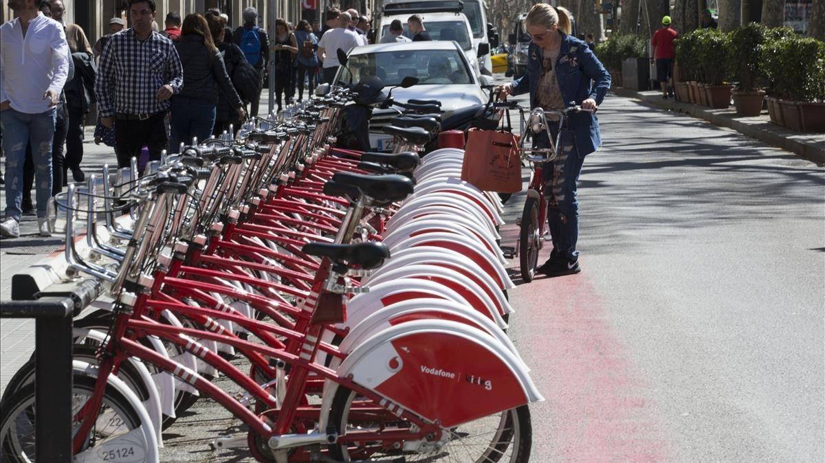 Estación de Bicing en Barcelona
