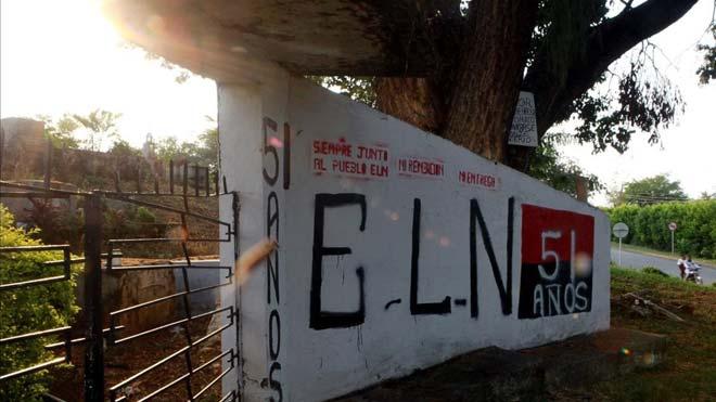 La guerrilla colombiana del ELN declara una tregua unilateral por el coronavirus. En la foto, un mural alusivo a la guerrilla del ELN en la localidad de El Palo, Colombia.