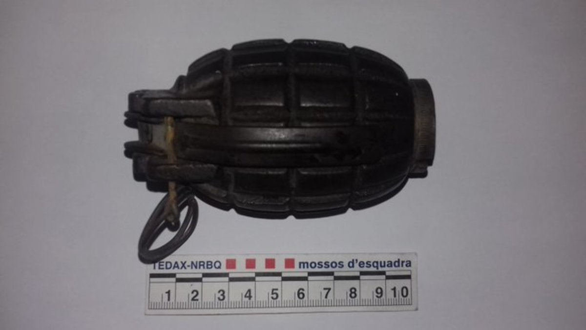 La granada de mano recibida en el Punt Verd de Barcelona