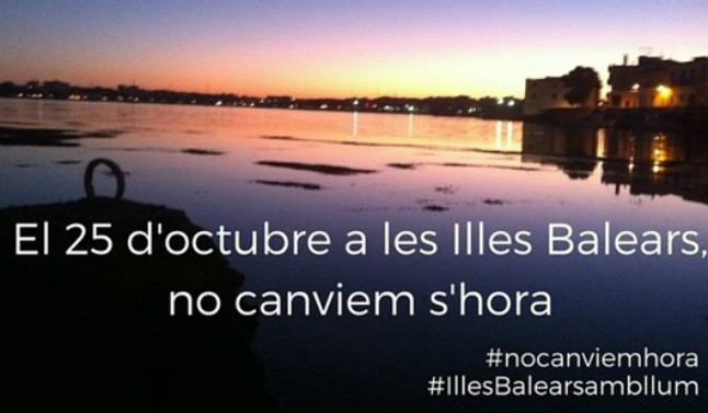 Imagen de la campaña #Nocanvienhora #IllesBalearsambllum.