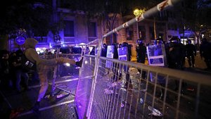Incidentes en la concentración en los alrededores de la Delegación del Gobierno.