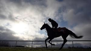 Un jinete se ejercita con su caballo en el hipódromo de Aintree, en Liverpool, preparando el Grand National.