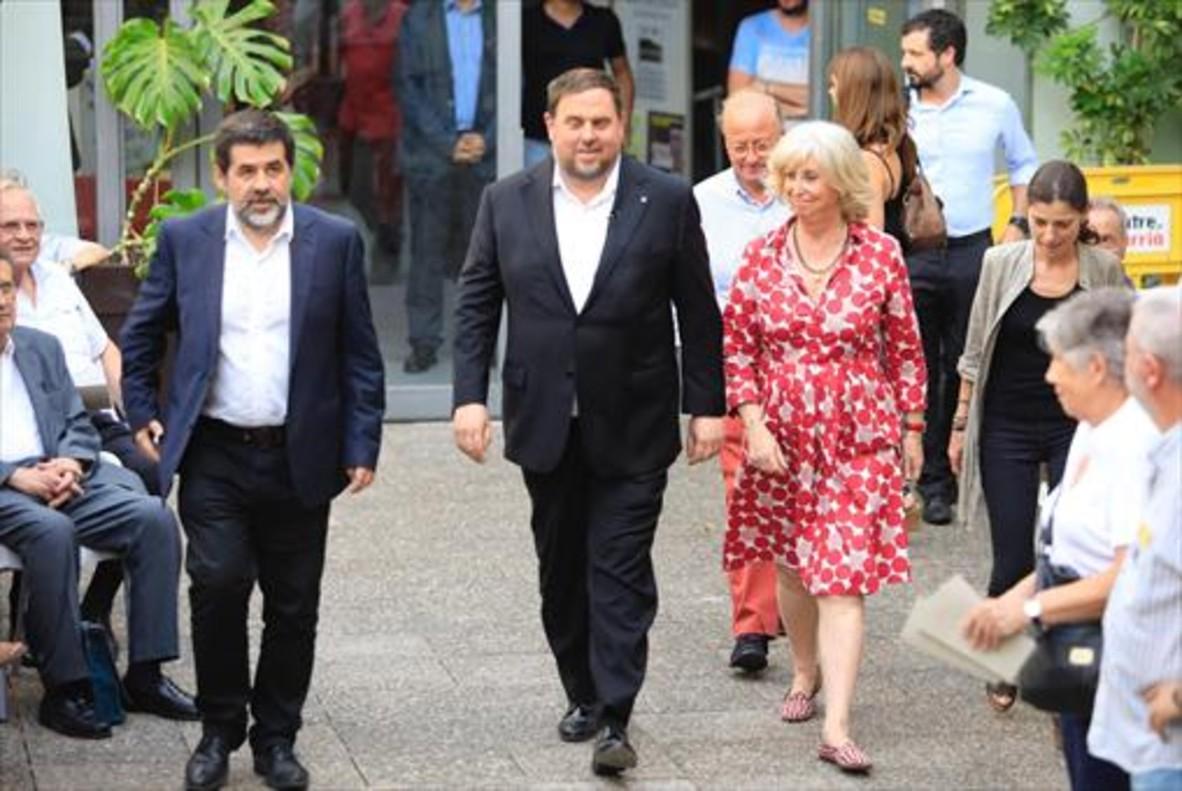Jordi Sànchez y Oriol Junqueras, el 19 de julio pasado, en un acto de la ANC en Barcelona.