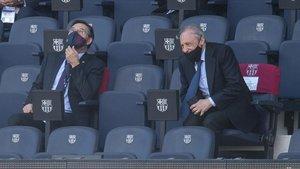 Josep Maria Bartomeu y Florentino Pérez, el sábado en el Camp Nou.
