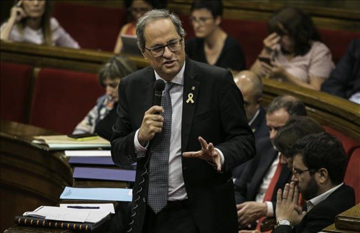 El 'president' de la Generalitat, Quim Torra, en el Parlament.