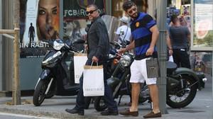George Michael y Fadi Fawaz, en Barcelona, en julio del 2012.