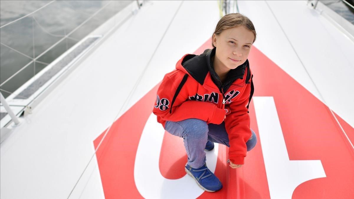 La activista sueca Greta Thunberg, en el puerto de Plymouth.