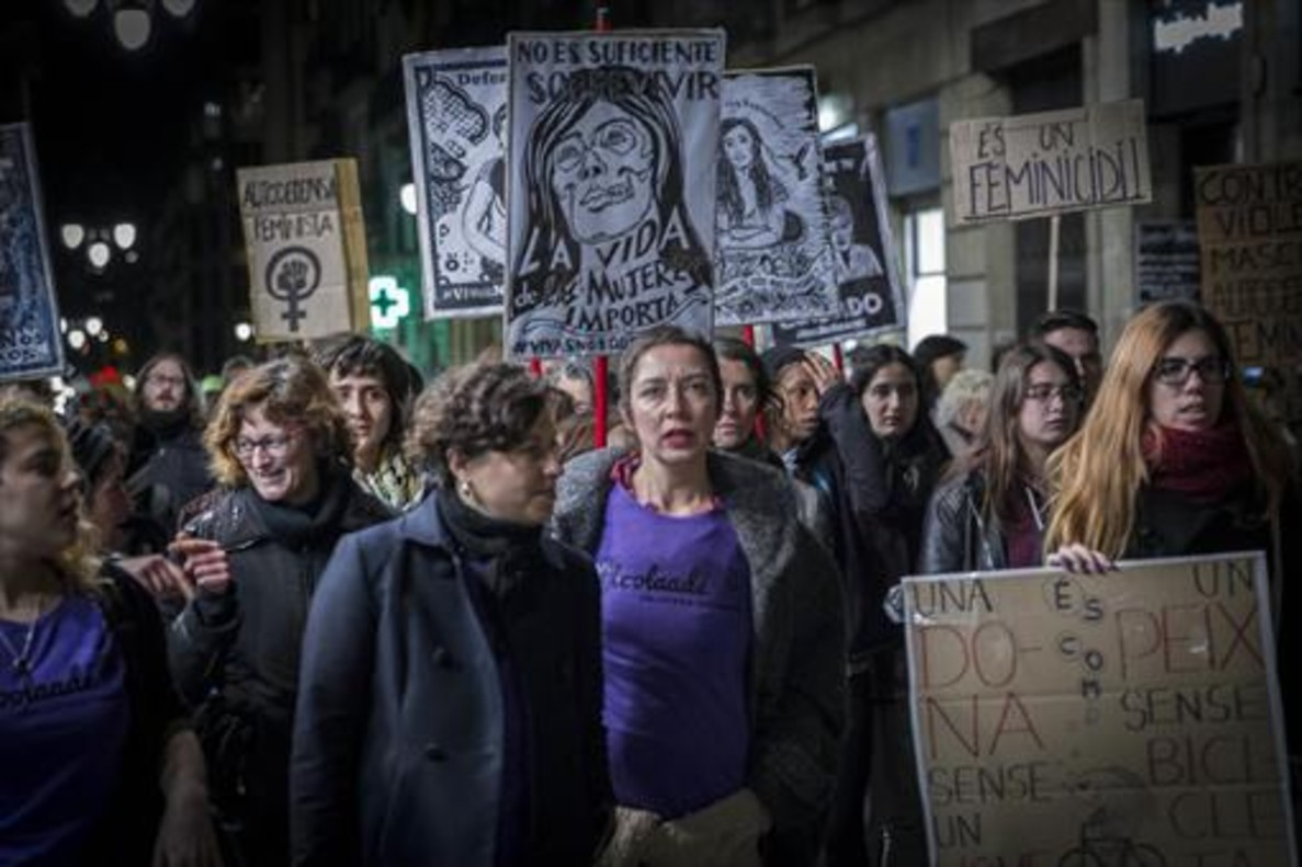 Manifestación contra la violencia machista en Barcelona.