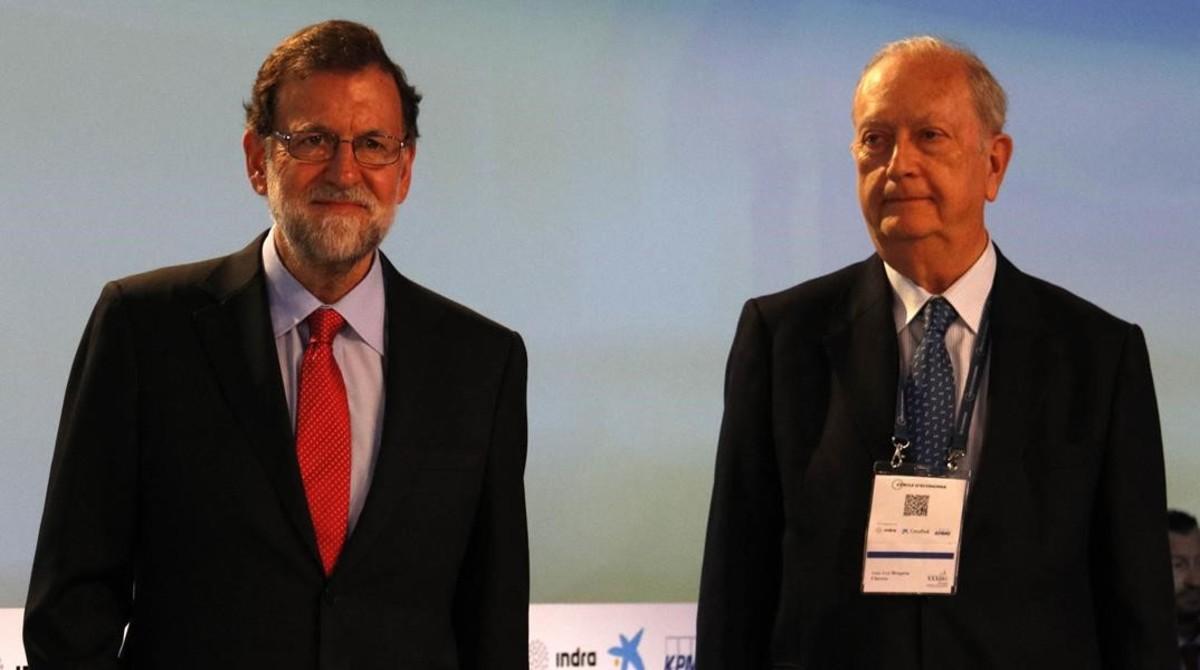 Mariano Rajoy y el presidente del Cercle d'Economia, Juan José Brugera, en Sitges.