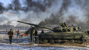Militares ucranianos en la región de Chernihiv.