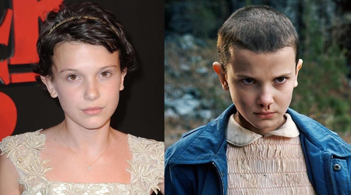La actriz Millie Bobby Brown y, a la derecha, en su papel de Once en 'Stranger things'.