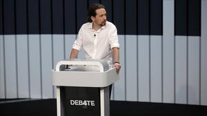 Pablo Iglesias durante el debate a cuatro.