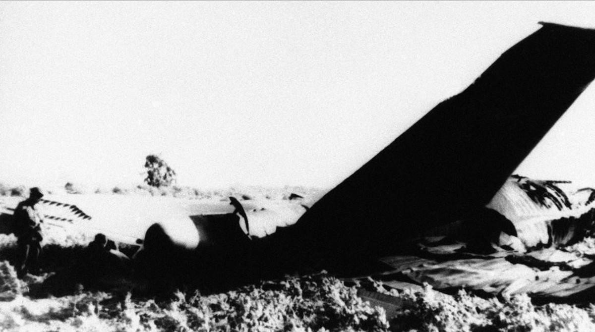 Parte del fuselaje de uno de los aviones norteamericanos que se estrellaron en Palomares con cuatro bombas.