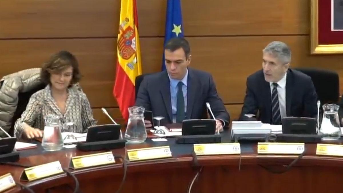 Pedro Sánchez preside el Comité de seguimiento de la situación en Catalunya.