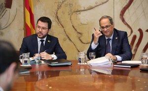 Pere Aragonès y Quim Torra, en la reunión del Govern en la Generalitat.