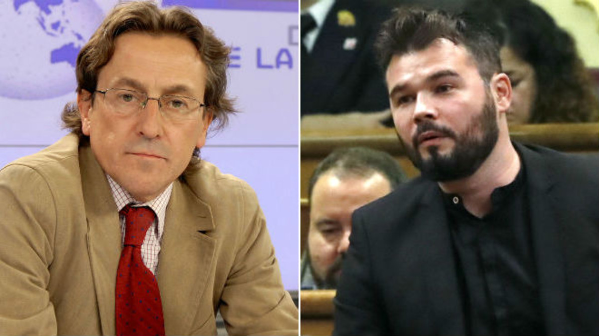 El periodista Hermann Tertsch y el diputado de ERC Gabriel Rufián.