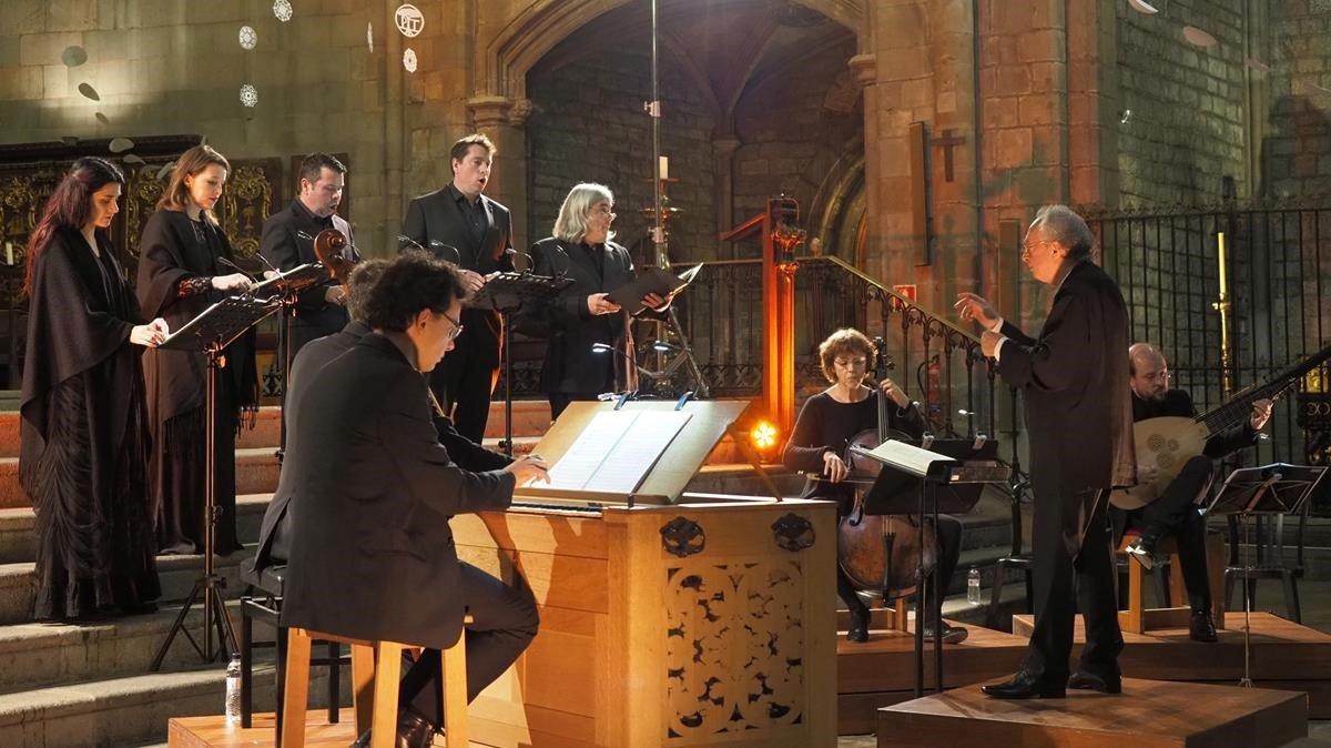 Philippe Herreweghe, al frente del Collegium Vocale Gent, en Santa Maria del Pi