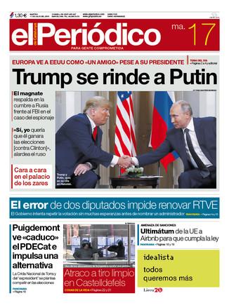 La portada de EL PERIÓDICO DE CATALUNYA del martes, 17 de julio del 2018.