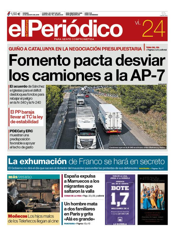 La portada de EL PERIÓDICO del 24 de agosto del 2018