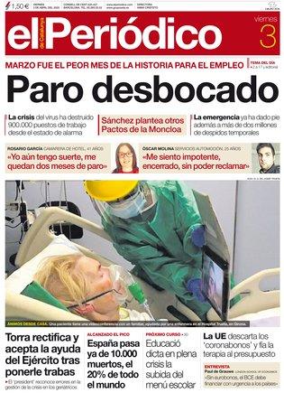 La portada de EL PERIÓDICO del 3 de abril del 2020