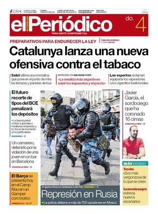La portada de EL PERIÓDICO del 4 de agosto del 2019.