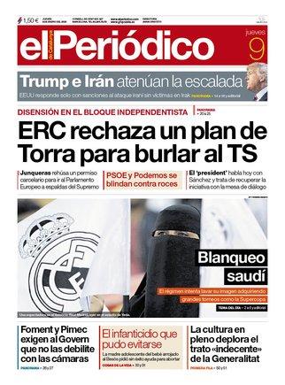 La portada de EL PERIÓDICO del 9 de enero del 2020.