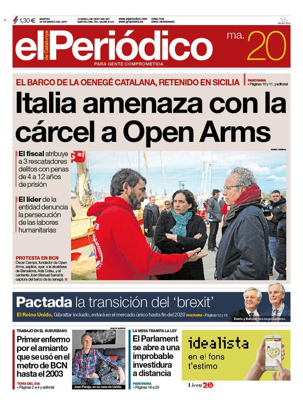 La portada de EL PERIÓDICO del 20 de marzo del 2018