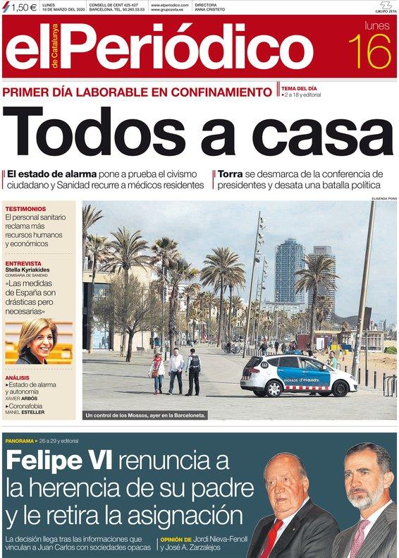 La portada de EL PERIÓDICO del 16 de marzo del 2020.