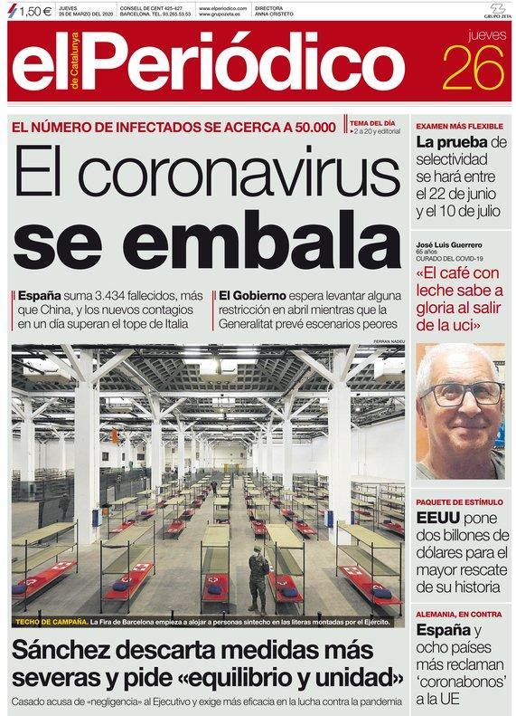 La portada de EL PERIÓDICO del 26 de marzo del 2020.