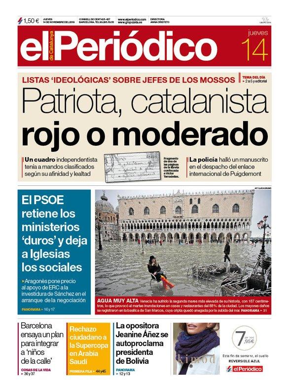 La portada de EL PERIÓDICO del 14 de noviembre del 2019.