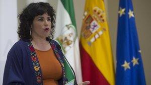 La presidenta del grupo parlamentario Adelante Andalucía Teresa Rodriguez, el pasado viernes.
