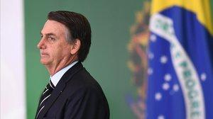 El presidente brasileño, Jair Bolsonaro, enuna ceremonia en el palacio de Planalto, en Brasilia.