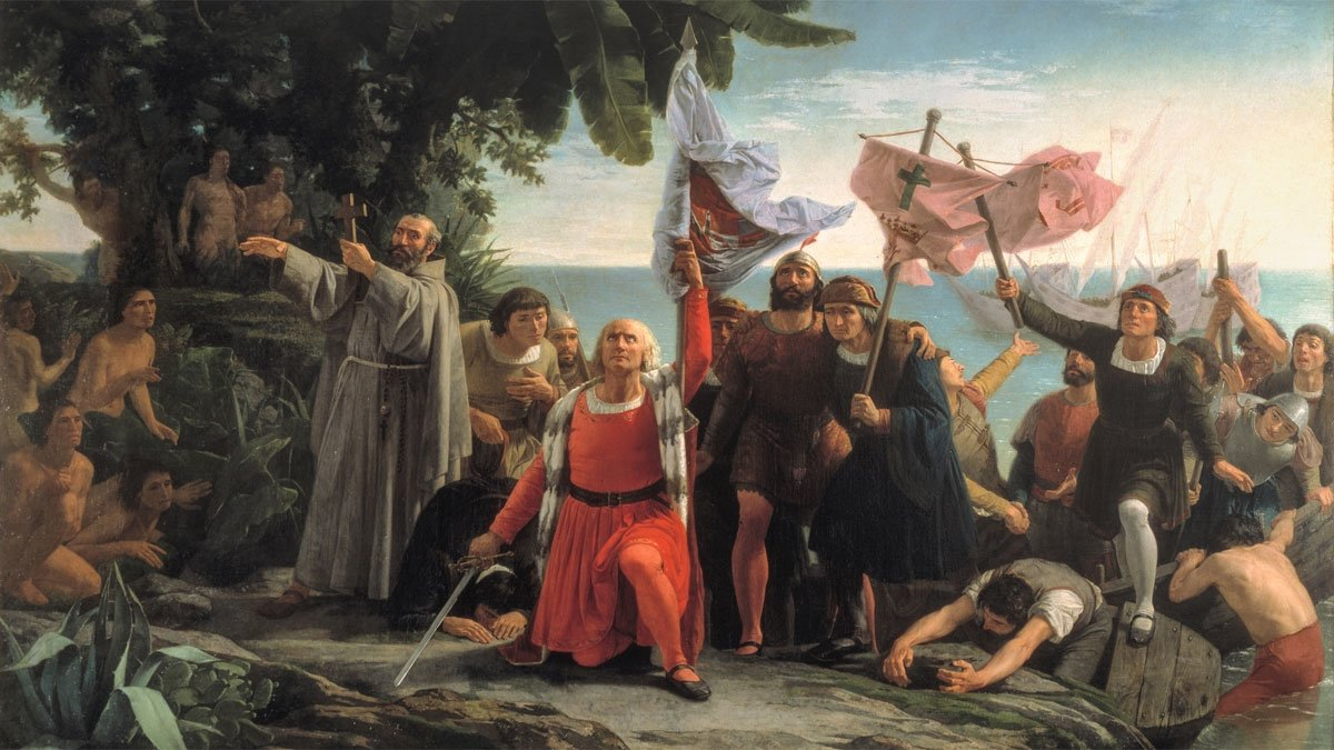 El cuadro 'Primer desembarco de Cristóbal Colón en América' (1862), de Dióscoro Teófilo Puebla, recrea con notable imaginación la llegada del conquistador al Nuevo Mundo el 12 de octubre de 1492.