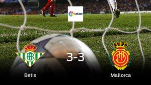 El Real Betis y el Mallorca consiguen un punto tras empatar a tres