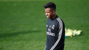 Rodrygo, jugador del Madrid, en un entrenamiento.