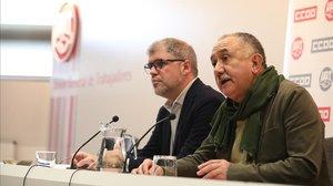 Els líders de CCOO i UGT visiten Junqueras i li demanen que faciliti la investidura