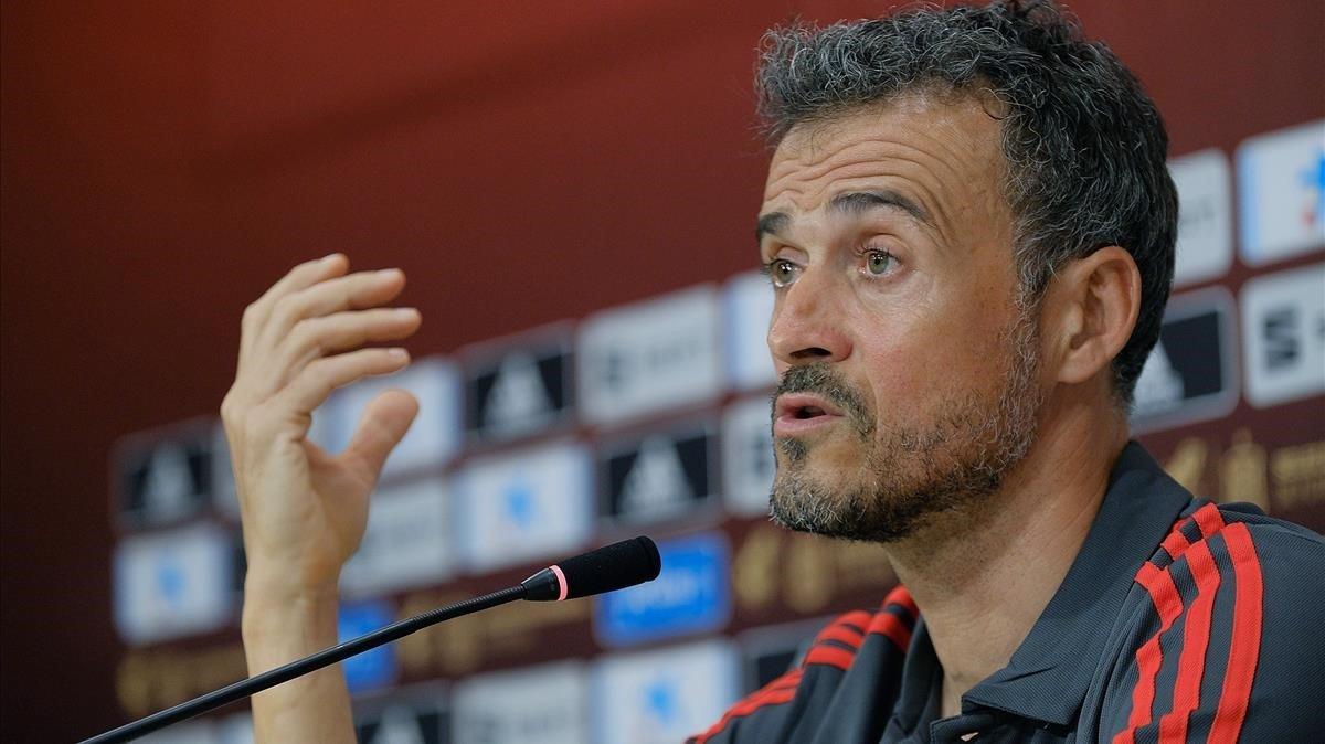 Luis Enrique, en la rueda de prensa previa al partido ante Bosnia en Gran Canaria.